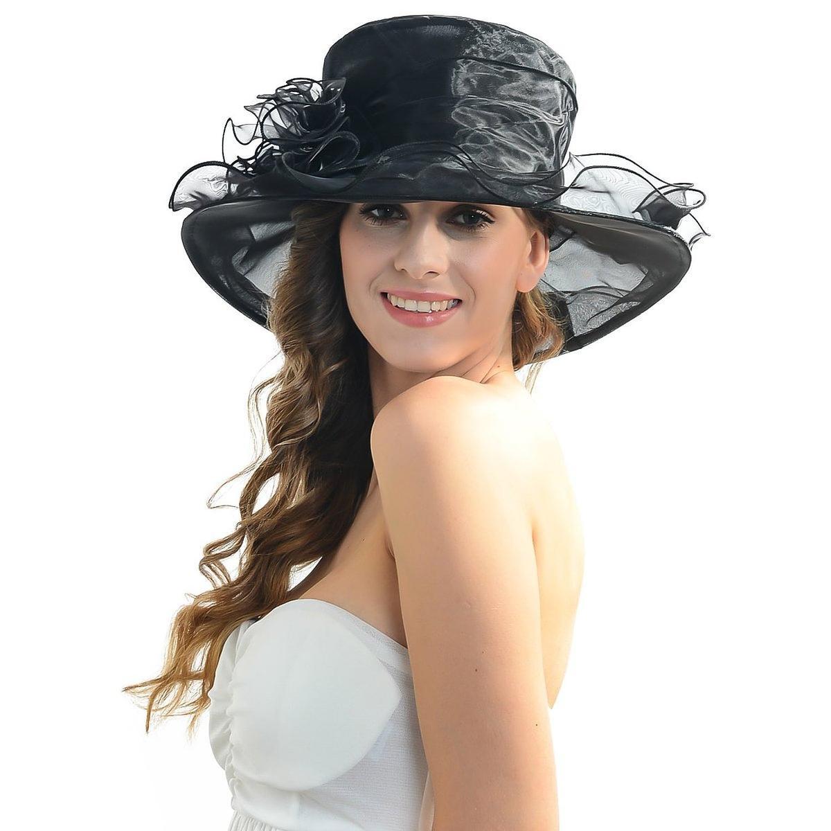 通常便なら送料無料 結婚式などのパーティに 迅速な対応で商品をお届け致します 上品な帽子 ヘッドドレス オーガンザ オーガンジー ハット 帽子 黒 IL 豪華 上品 購入 衣装 派手 結婚式 貴婦人 Caldo パーティ レディース