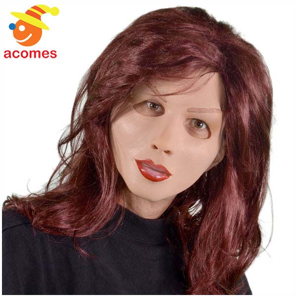マスク 女装 リアル お姉さん 赤褐色ヘアー付き 大人用 変装 変身 女性 ハロウィン イベント パーティー