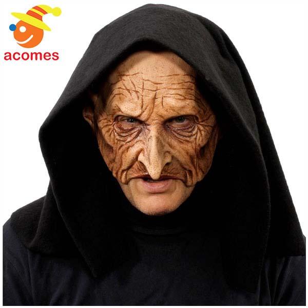 マスク リアル 魔女 魔術師 フード付き 大人用 変装 変身 魔法使い ハロウィン イベント パーティー