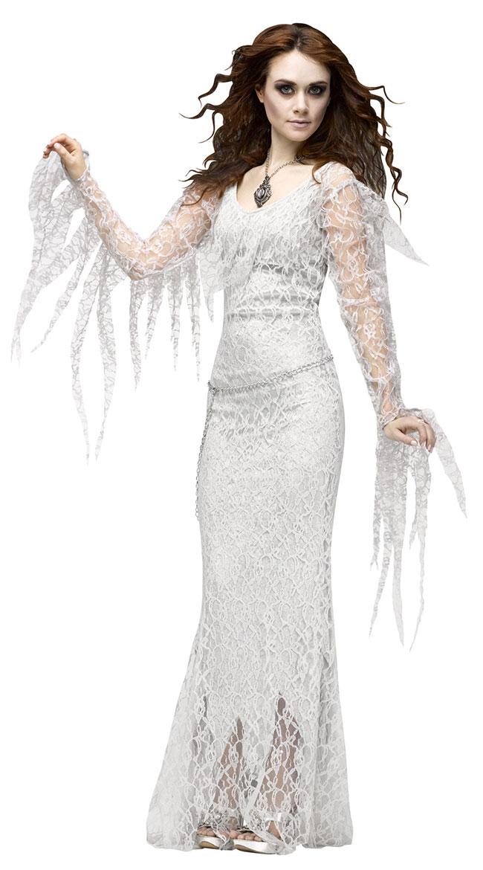 幽霊 ゾンビ 花嫁 コスチューム 衣装 ロングドレス 白 ハロウィン ゴス ホラー コスプレ 仮装 大人 レディース