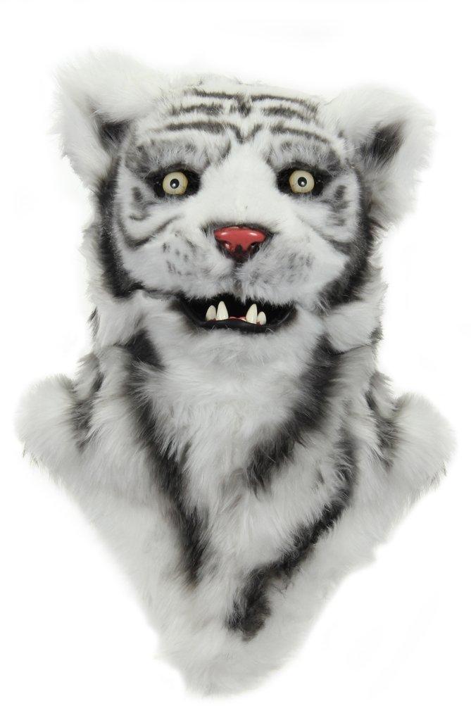 ホワイトタイガー トラ マスク 大人用 口 動く 動物 コスプレ 仮装 被り物
