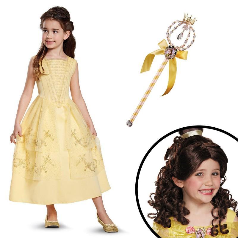 ディズニー コスチューム 子供 美女と野獣 ベル ウィッグ 杖 セット ハロウィン プリンセス コスプレ 衣装 仮装 キッズ