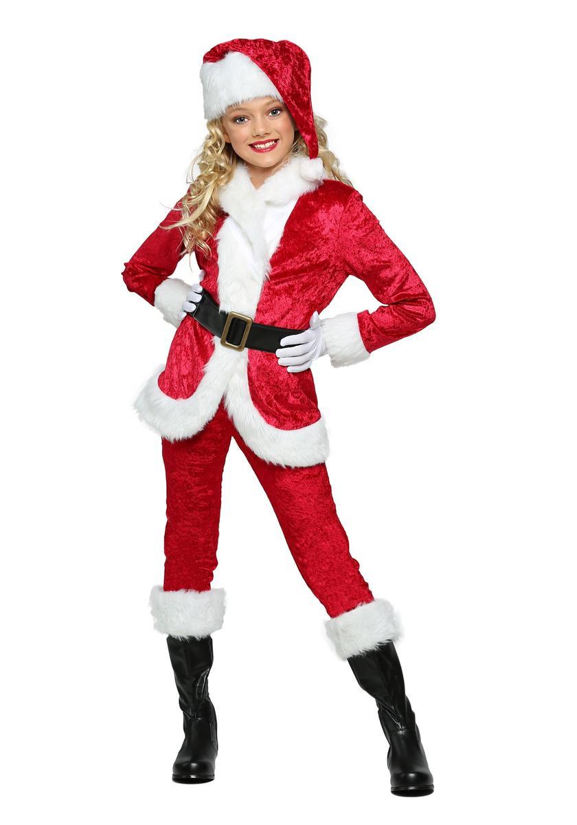 サンタクロース コスチューム 子供 女の子 コスプレ 長袖 長ズボン 衣装 クリスマス 仮装 海外