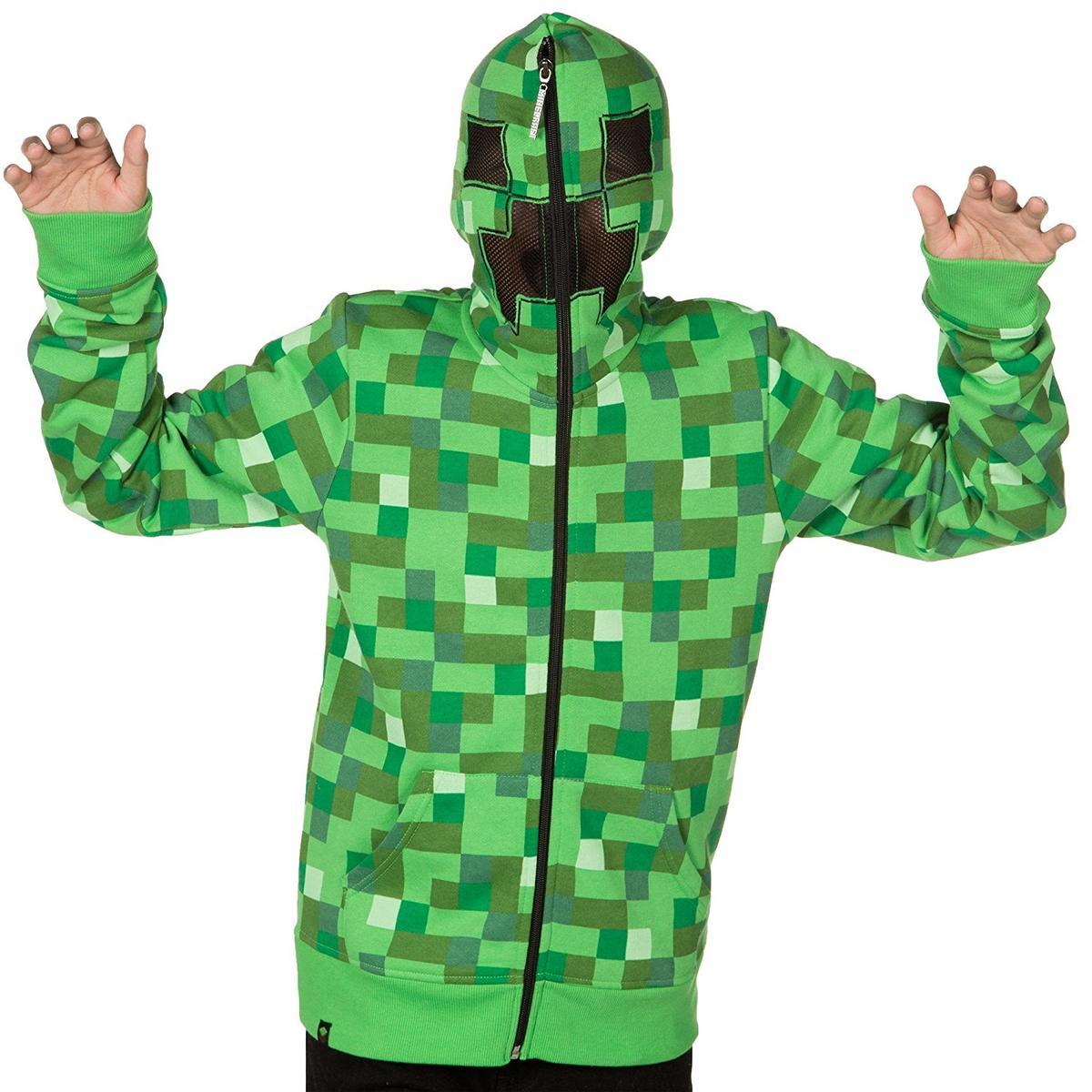 マイクラ クリーパー ジュニア ユース サイズ パーカー マインクラフト 緑 テレビゲーム