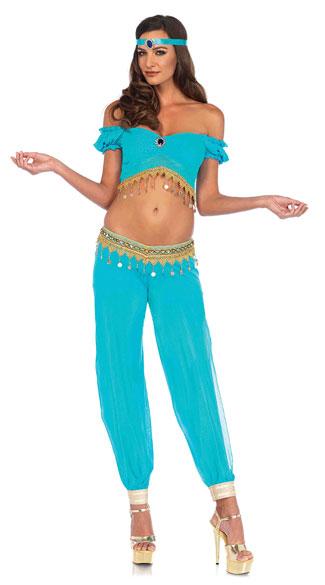 中東 ベリーダンス ドレス 衣装 青 ターコイズ セクシー 女性 レディース コスプレ コスチューム ジャスミン かわいい魔女ジニー ジーニー