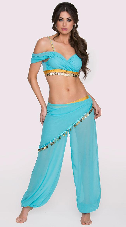 中東 ベリーダンス 衣装 ドレス 青 ターコイズ セクシー 女性 レディース コスプレ コスチューム ジャスミン かわいい魔女ジニー ジーニー