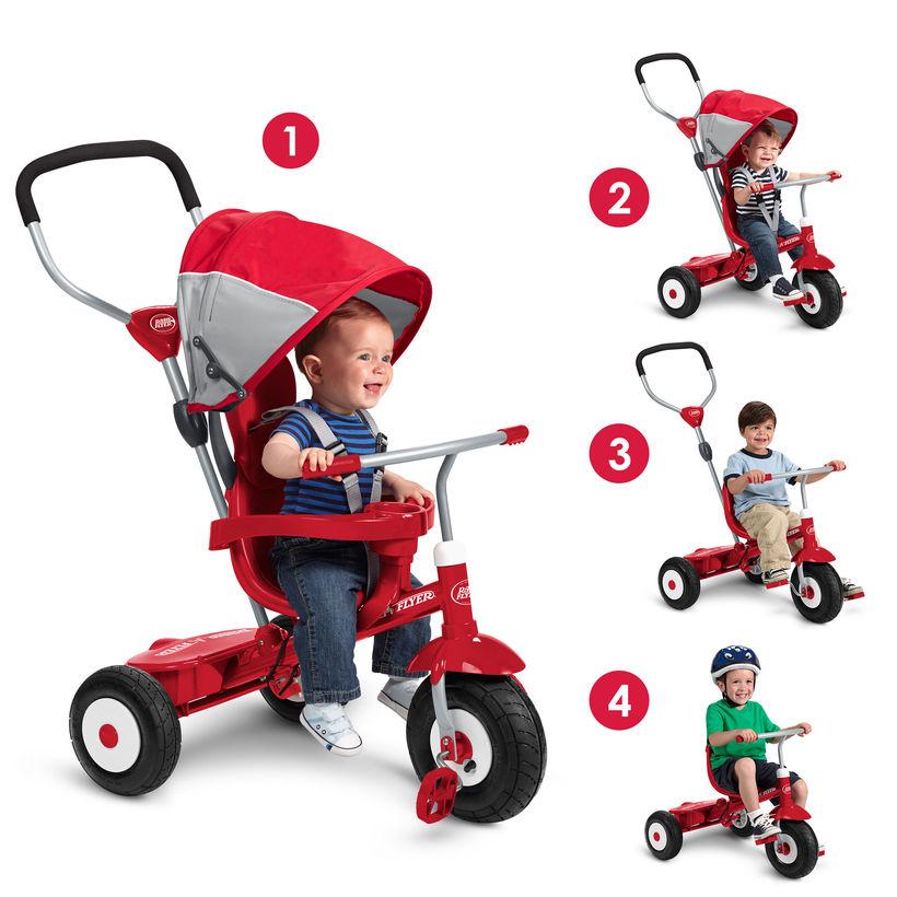 三輪車 ベビーカー 一体 子供 幼児 乗り物 おもちゃ 赤