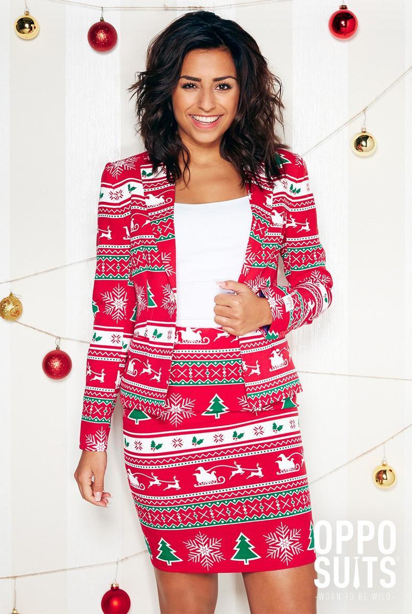 Opposuits オッポスーツ 女性 レディース WINTER WOMAN 赤 総柄 クリスマス パーティ 衣装 コスプレ 仮装 コスチューム ファンシースーツ