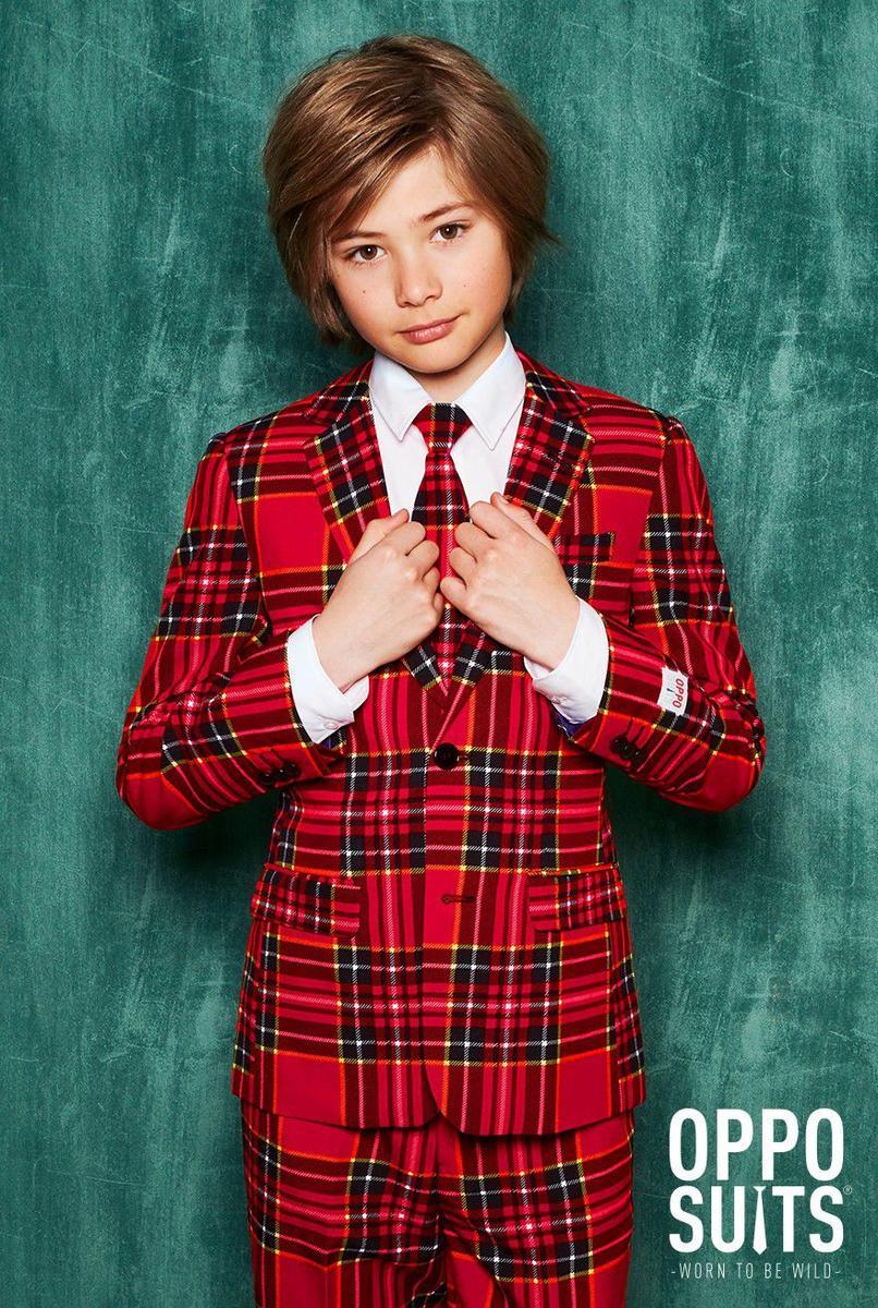Opposuits オッポスーツ 子供 中学生 男の子 チェック 赤 クリスマス 総柄 パーティ 衣装 コスプレ 仮装 コスチューム ファンシースーツ