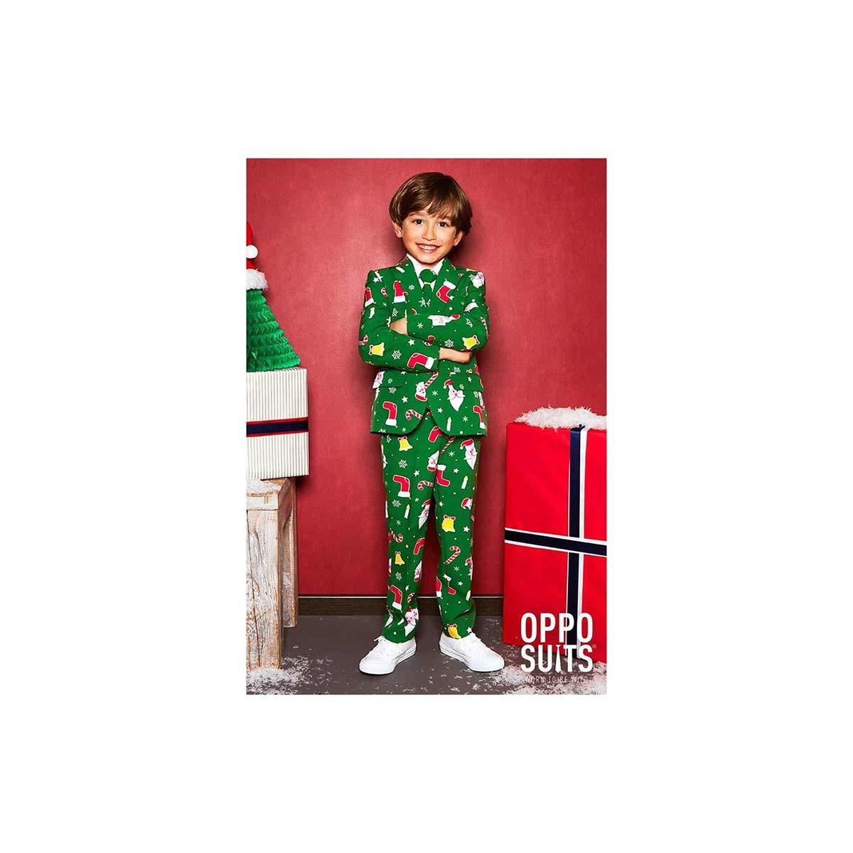 Opposuits オッポスーツ 子供 小学生 男の子 SANTABOSS 緑 クリスマス 総柄 パーティ 衣装 コスプレ 仮装 コスチューム ファンシースーツ