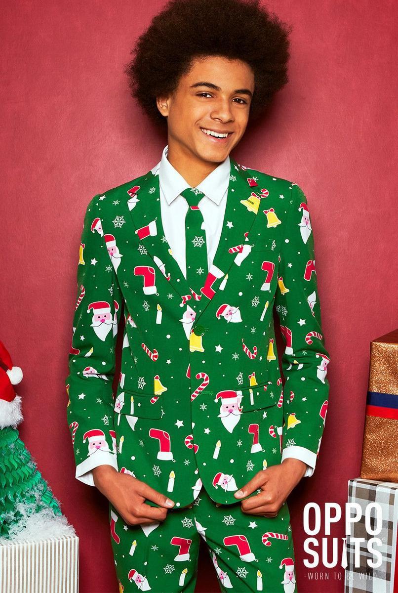 Opposuits オッポスーツ 子供 中学生 男の子 SANTABOSS 緑 クリスマス 総柄 パーティ 衣装 コスプレ 仮装 コスチューム ファンシースーツ
