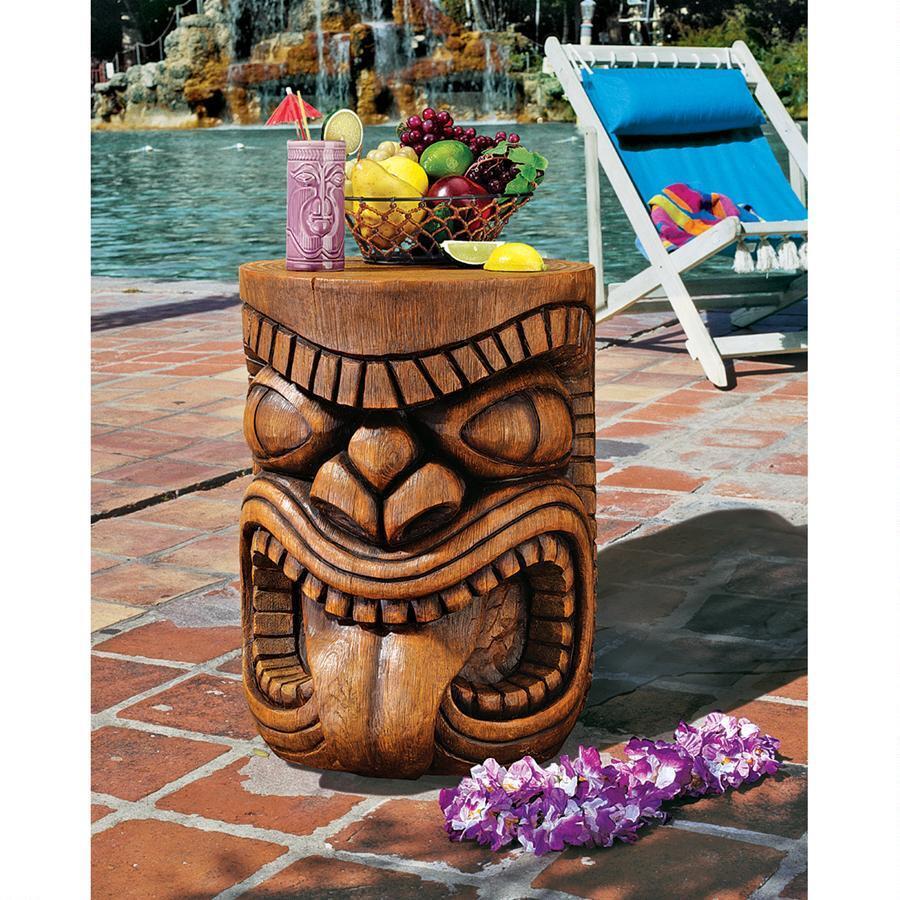 舌を出す ティキ像 テーブル 南国 アート 彫刻 ホーム インテリア エクステリア 屋外 庭 ガーデン 飾り 石像 オブジェ
