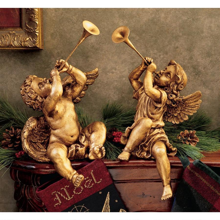 トランペット 天使 ブロンズ セット アート 彫刻 ホーム インテリア エクステリア 屋外 庭 ガーデン 飾り 石像 オブジェ
