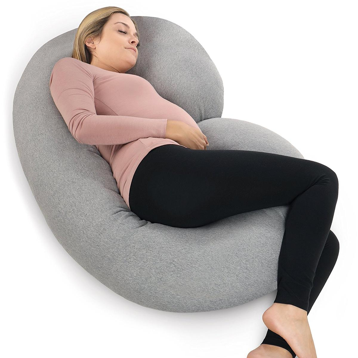 妊婦 枕 クッション C字型 グレー