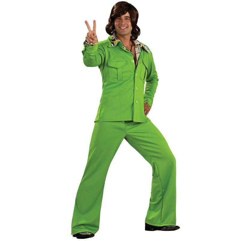 ディスコ 衣装 1970 年代 レジャー スーツ 緑 大人 男性 デラックス コスチューム ハロウィン 70' グルーヴィー ハッスル 娯楽 スーツ 通常便なら 送料無料
