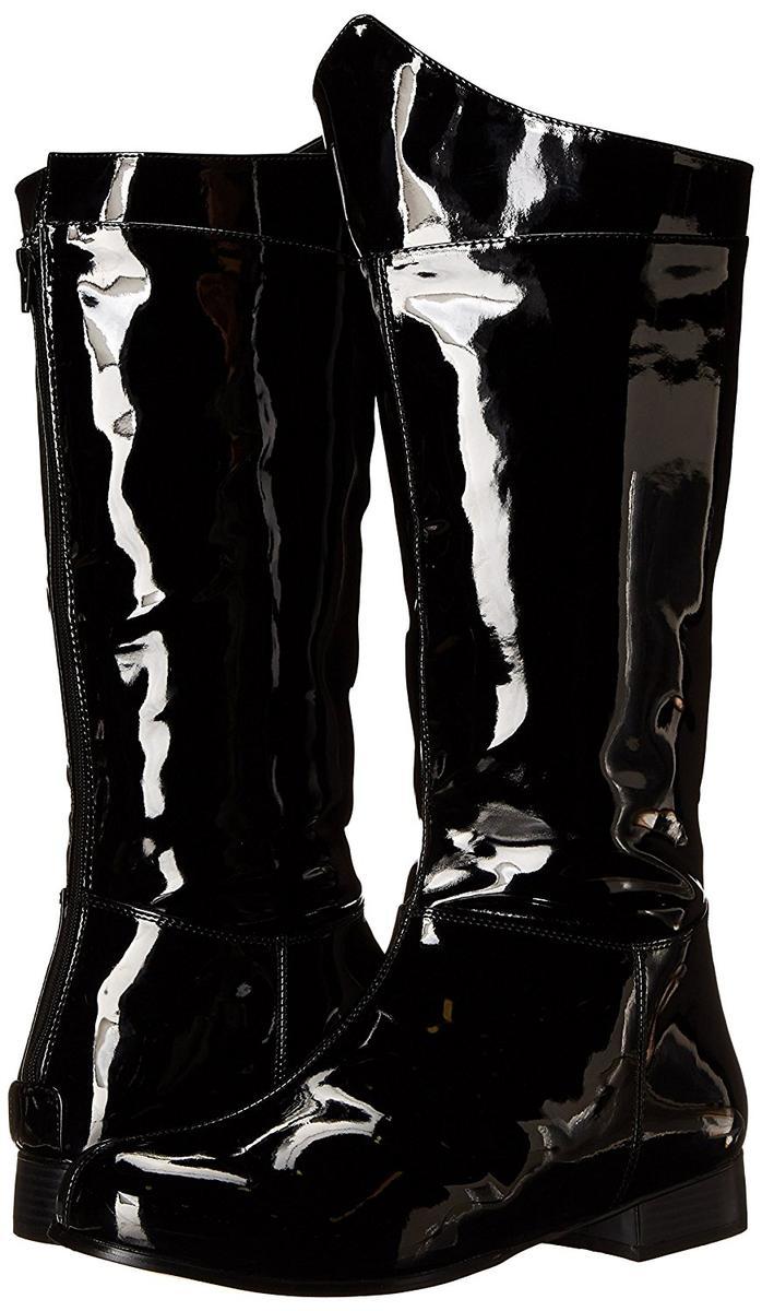 Funtasma ブーツ 黒 テカテカ メンズ ヒーロー コスプレ 仮装 靴 エナメル