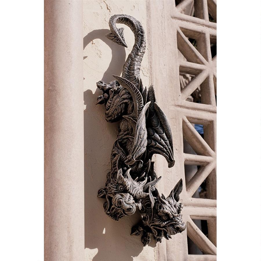 魔除け インテリア 2頭 ガーゴイル 彫刻 置物 壁掛け ウォールデコレーション