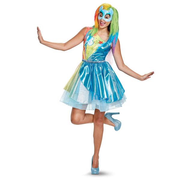 マイリトルポニー 服 レインボー ダッシュ 大人用 ドレス 衣装 デラックス コスチューム RD ハロウィン イベント クリスマス パーティー