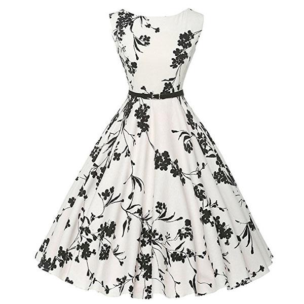 ダッパー ドレス レディス オールディーズ 衣装 ビンテージ ノースリーブ ワンピース ホワイト&フラワー ダッパーデイ