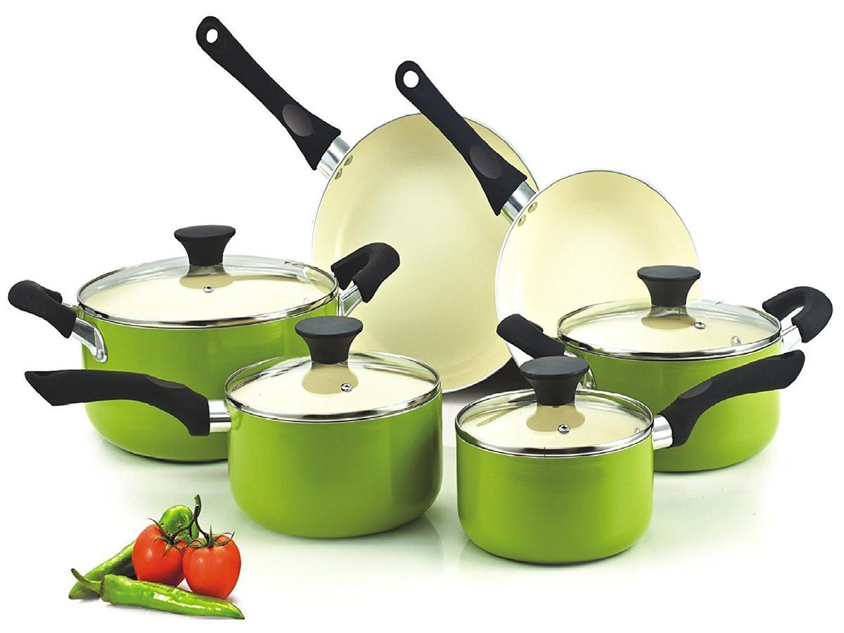 Cook N Home ノンスティック フライパン 鍋 10点 セット 海外 調理 キッチングッズ