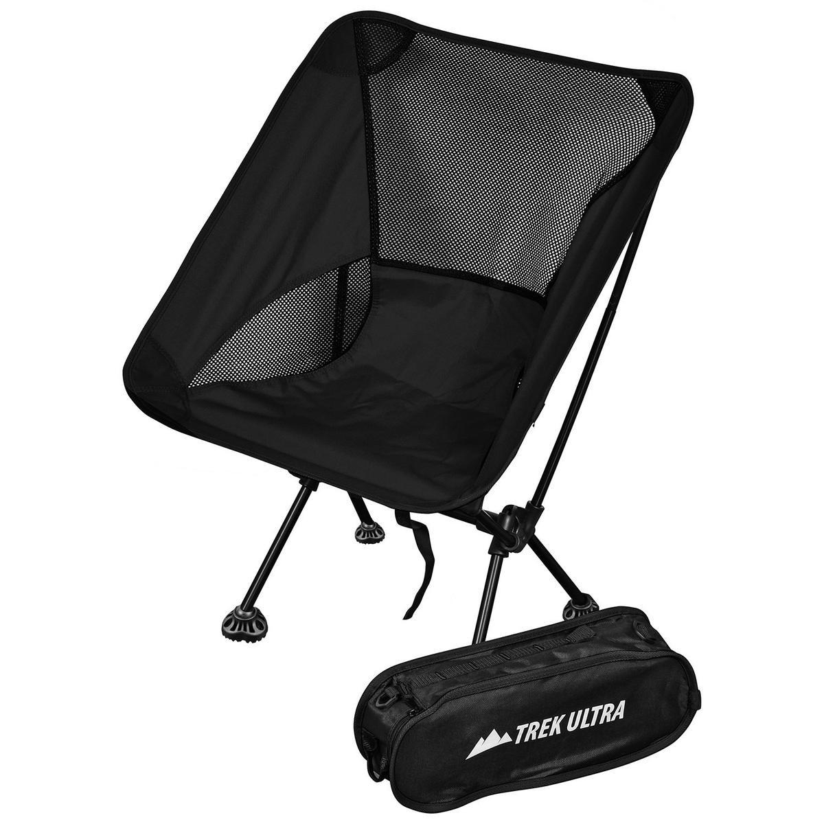 折りたたみイス 持ち運び バッグ付き チェア ブラック 椅子 ポータブル キャンプ トラベル アウトドア TrekUltra