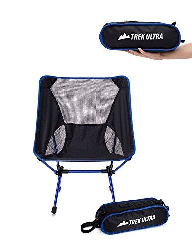 折りたたみイス 持ち運び バッグ付き チェア ブルー 椅子 ポータブル キャンプ トラベル アウトドア TrekUltra
