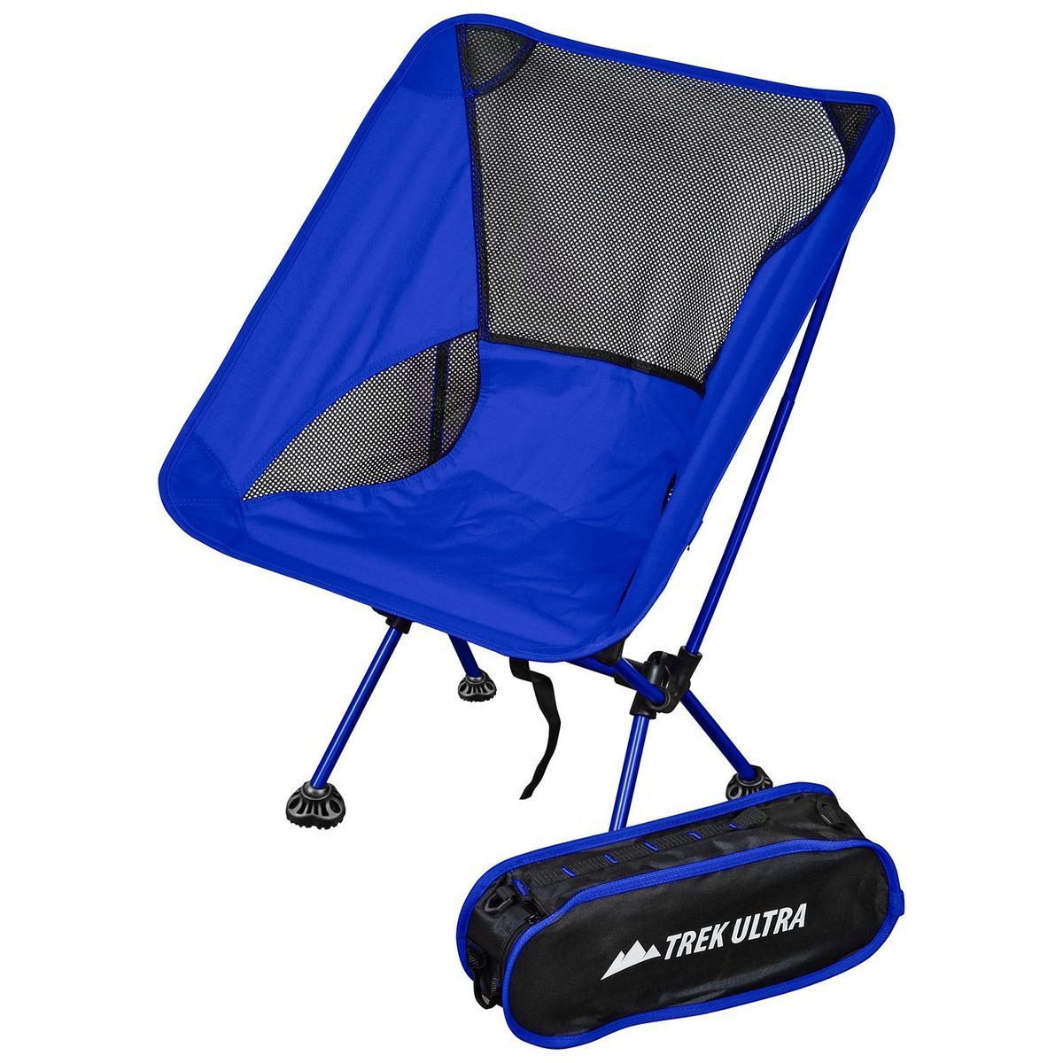 折りたたみイス 持ち運び バッグ付き チェア ロイヤルブルー 椅子 ポータブル キャンプ トラベル アウトドア TrekUltra