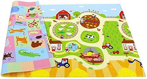 赤ちゃん プレイマット リバーシブル ラージサイズ 農場 動物 インテリア おもちゃ