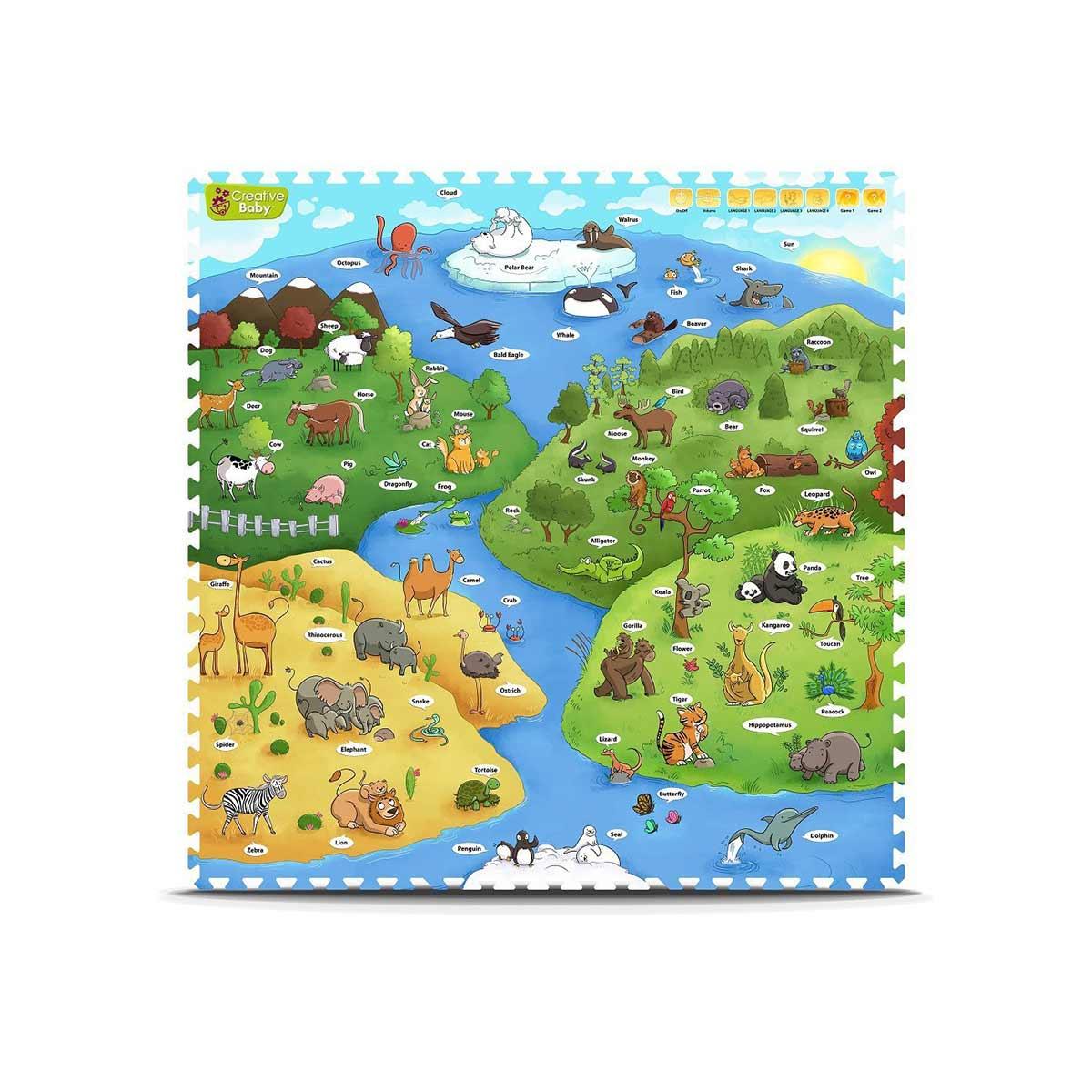 Creative Baby プレイマット ジョイントマット 動物 子供 幼児 インテリア 知育玩具 英語 おもちゃ
