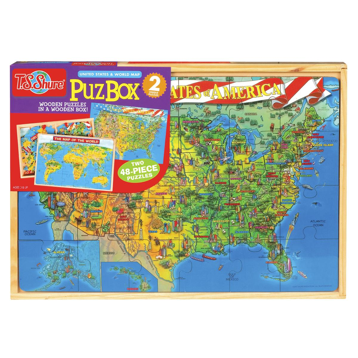 T.S. Shure 世界地図 パズル 木製 子供 知育玩具 海外 おもちゃ あす楽