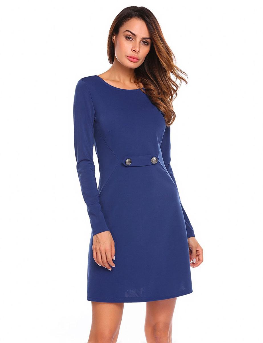 Zeagoo フレアドレス 長袖 ワンピース 青 ブルー レディース パーティ 衣装 Aライン ミニドレス