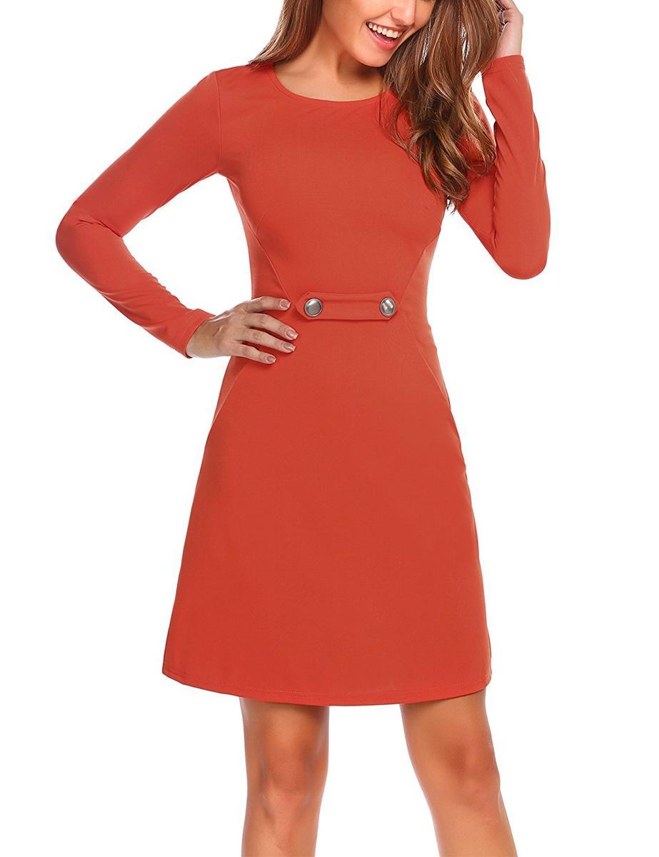 Zeagoo フレアドレス 長袖 ワンピース オレンジ レディース パーティ 衣装 Aライン ミニドレス