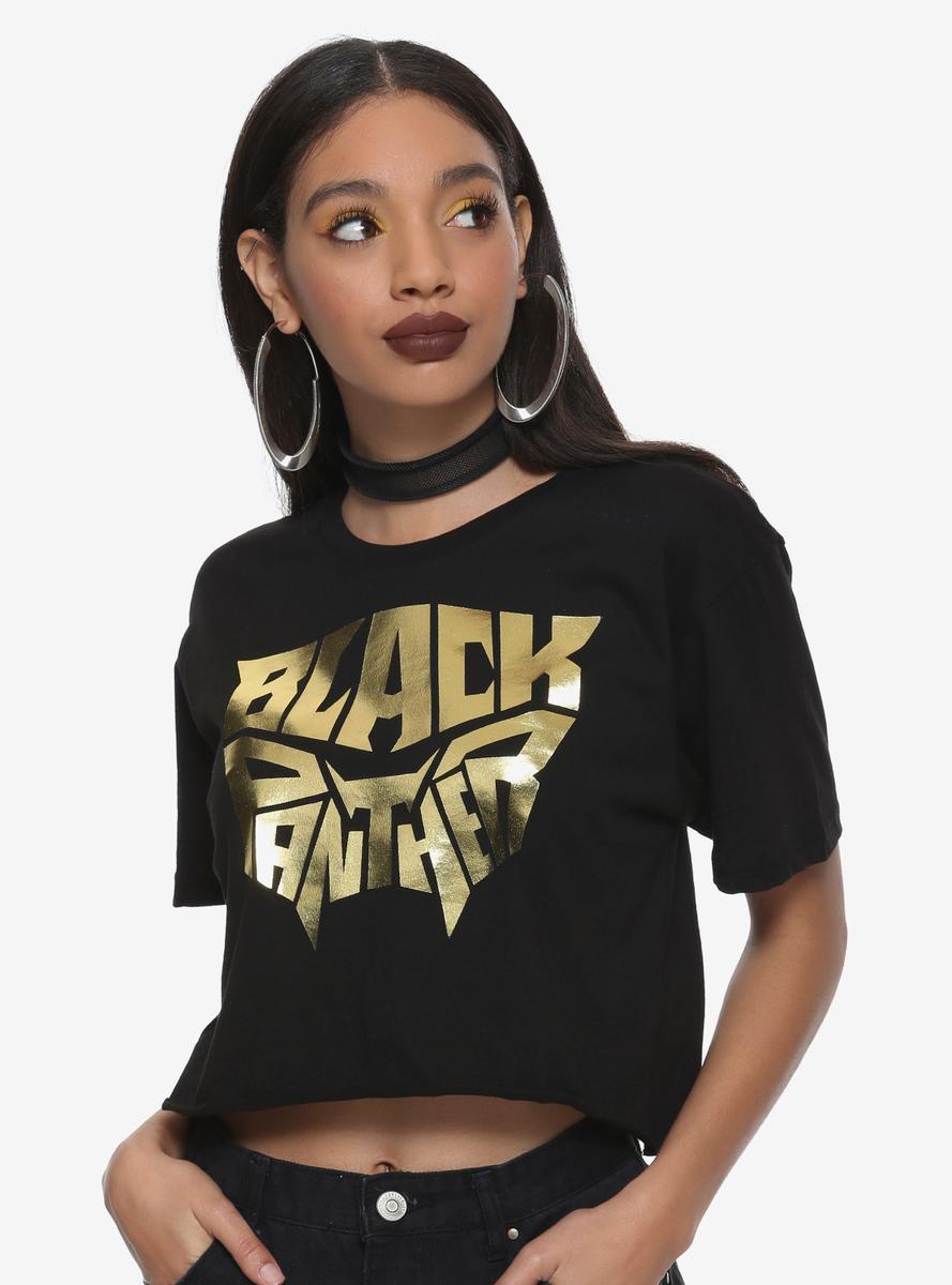 ブラックパンサー Tシャツ レディース 黒 金 ロゴ マーベル ヒーロー グッズ