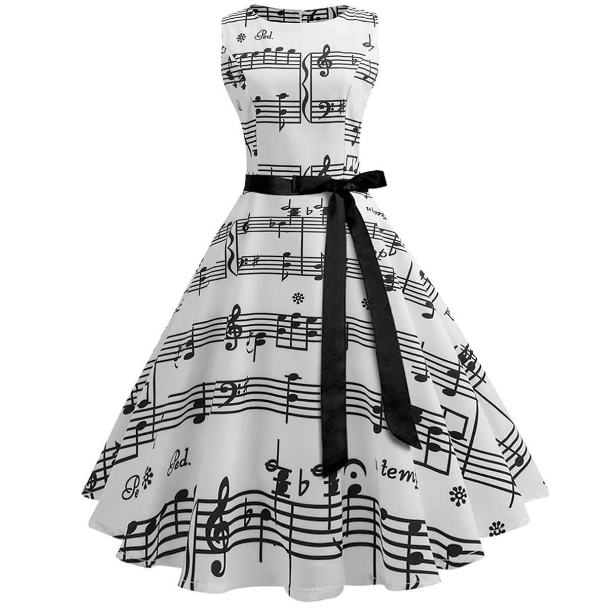 総柄 ドレス 音符 ノースリーブ 白 スウィングドレス 50年代 ヴィンテージ 大人 女性 レディース 音楽 発表会 目立つ 派手