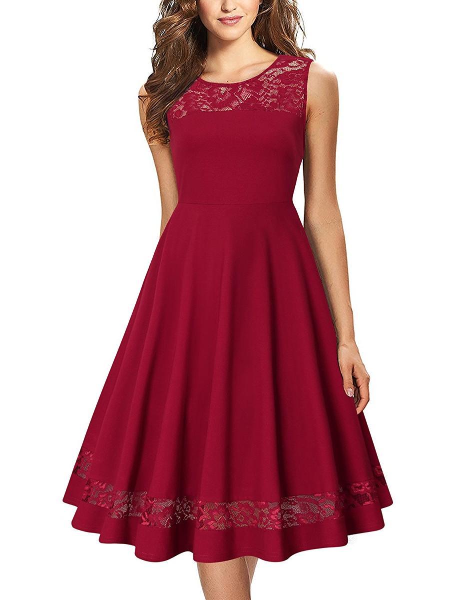 ノースリーブ パーティドレス 赤 卒業式 ドレス 女性 レディース ビンテージ エレガント フローラル Laksmi