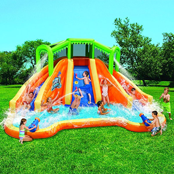 大型 野外 遊具 水遊び ツインフォールス ラグーン ウォータースライド クライミングウォール & 2キャノン