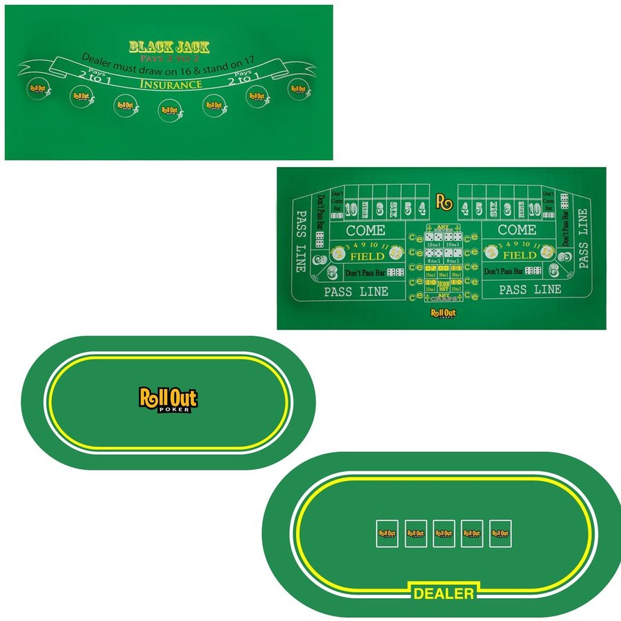 Casino Game Non Slip Rubber Form Table Top Layout Poker Blackjack Roulette  Crap Plays A Game ...