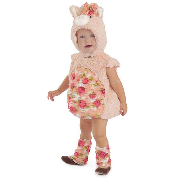 ピグレット ブタ ベビー 子供用 コスチューム ローズプリント 衣装 かわいい ピンク ハロウィン 仮装 コスプレ 写真撮影 赤ちゃん 通常便は送料無料