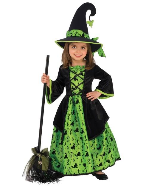 魔女 コスチューム ハロウィン かわいい おしゃれ コスプレ キッズ 子供 衣装 グリーン&ブラック