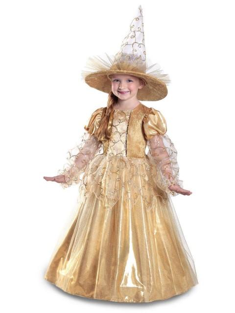 魔女 コスチューム ハロウィン おしゃれ コスプレ 子供 プリンセス お姫様 ゴールド
