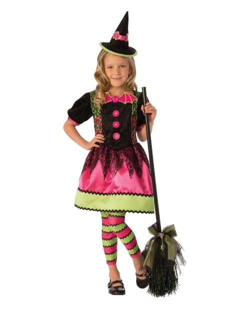 魔女 コスチューム ハロウィン 楽しい コスプレ 子供 ピンク&グリーン