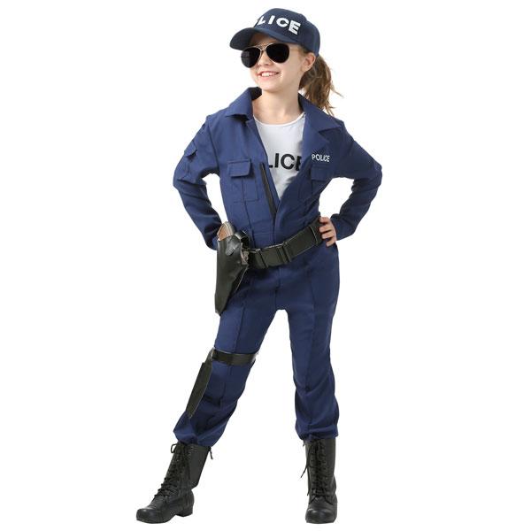 ポリス コスチューム 警察官 ジャンプスーツ ハロウィン コスプレ イベント パーティー キッズ 女の子 子供 通常便は送料無料