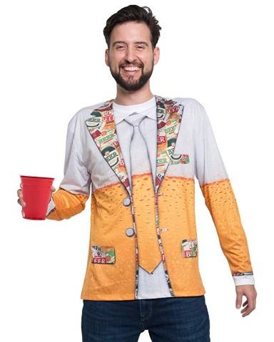おもしろ リアル Tシャツ ビール 男 メンズ 長袖 ロングスリーブ コスチューム 大人
