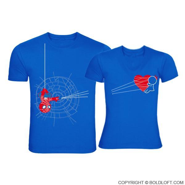 ペア tシャツ 捉えられたハート ブルー かわいい お揃い カップル バレンタイン