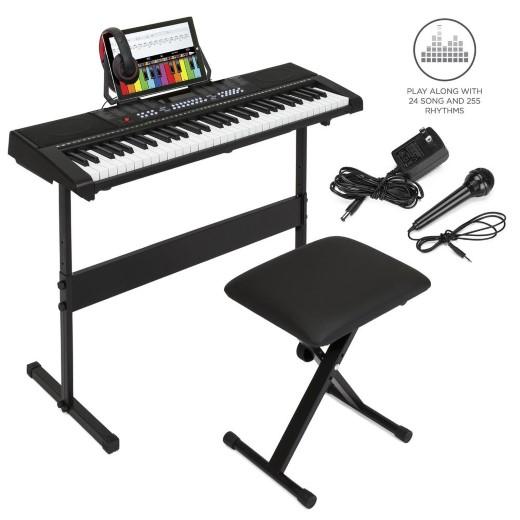 キーボード ピアノ 61鍵 初心者向け キーボードセット スタンド付き 椅子付き