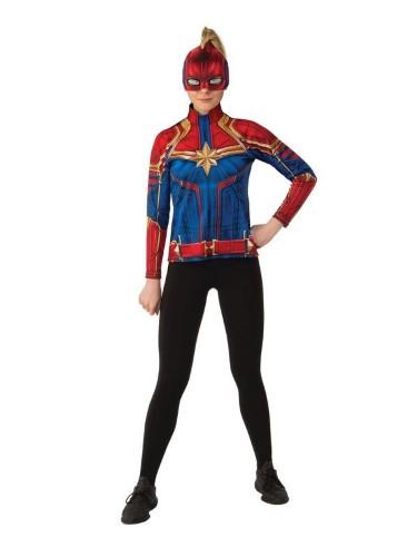 キャプテン マーベル レディース ヒーロー スーツ トップ 大人 女性 仮装 コスプレ