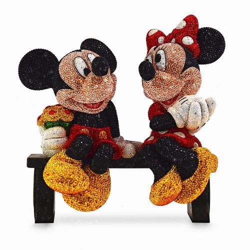ミッキー マウス & ミニー マウス 限定版 フィギュア インテリア 飾り スワロフスキー ストーン