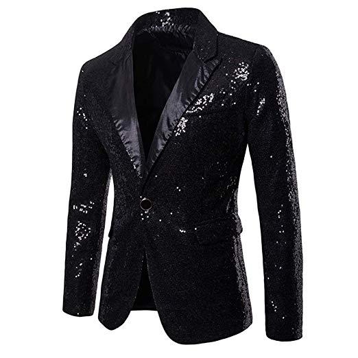 メンズ 派手 な ジャケット きらきら ブラック 黒 目立つ スパンコール 結婚式 ステージ マジシャン 手品 衣装