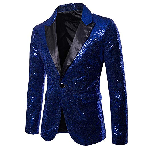 メンズ 派手 な ジャケット きらきら ブルー 青 目立つ スパンコール 結婚式 ステージ マジシャン 手品 衣装