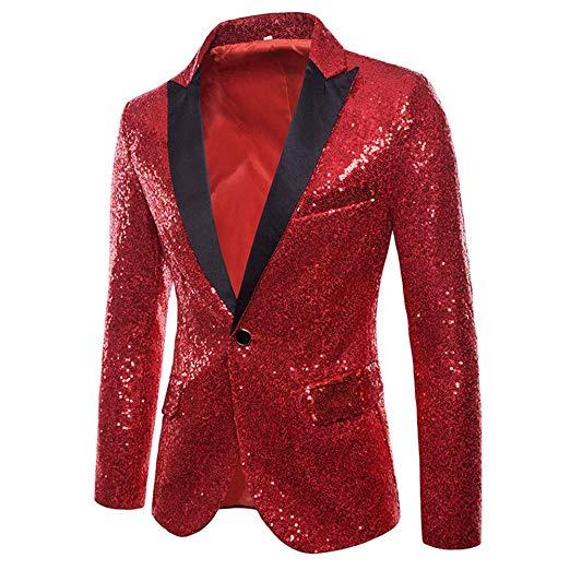 メンズ 派手 な ジャケット きらきら レッド 赤 目立つ スパンコール 結婚式 ステージ マジシャン 手品 衣装
